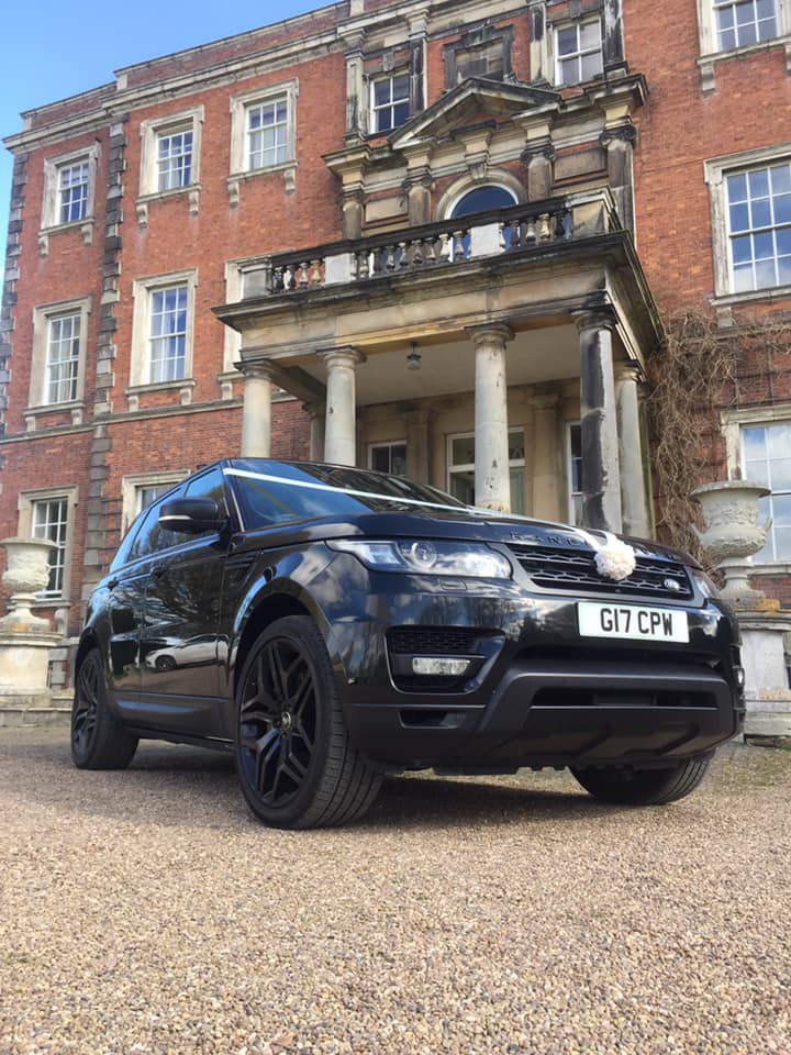 CPW Chaffeur Services showcasing their stunning Range Rover in front of Aldby Park