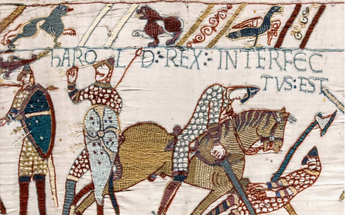 The Bayeux Tapestry depicting King Harald's death at the battle of Hastings