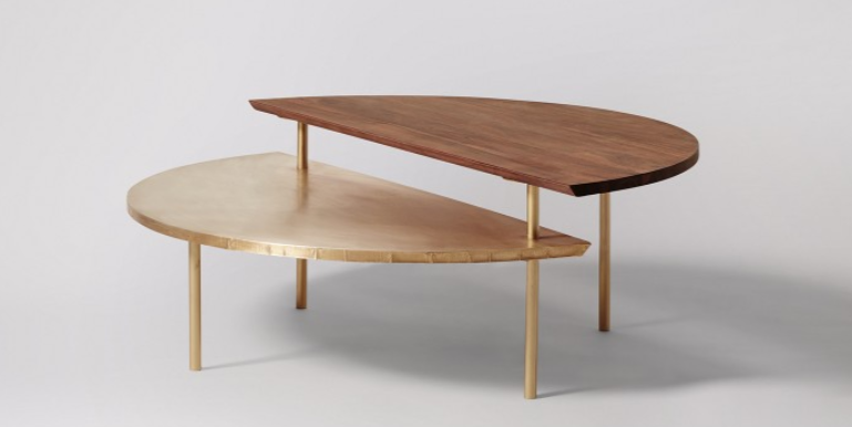 Thea Coffee Table, Acacia & Brass