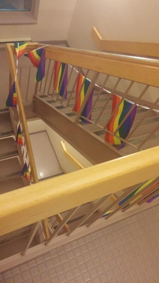 Pride Flags down the stairs.jpg