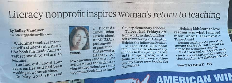 Teacher volunteers with Read USA and returns to teaching The Florida Times-Union 08/03/2019