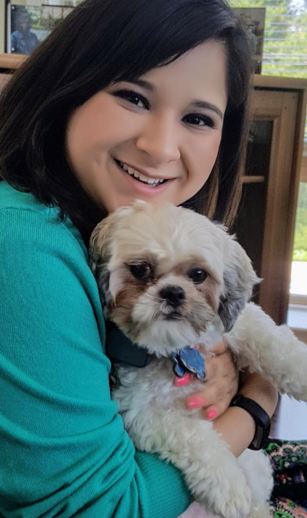 mariel and her dog, waffles