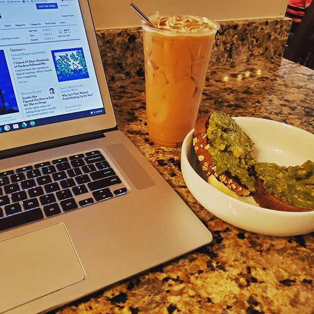 Working from home today, er, @jitterscafe But it is still nice to have a Friday morning in Melrose where I can still actually work and not be alone in my house! Anyone wanna join me here? The Avocado toast is divine!