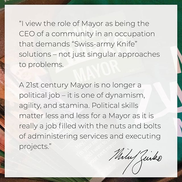 "I can't think of a less ""political"" job than Mayor. This is a job of management and project execution. At the local level, we provide important services to our residents and t's important to ensure those services are provided adequately and efficiently. #MelroseMA #ZwirkoForMayor"