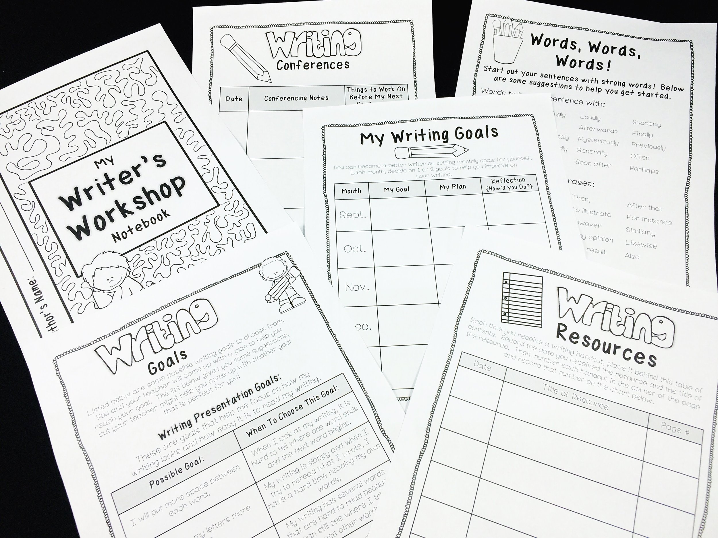 Students keep writing resources such as their writing goals, conference notes, and other resources to help them with their writing.