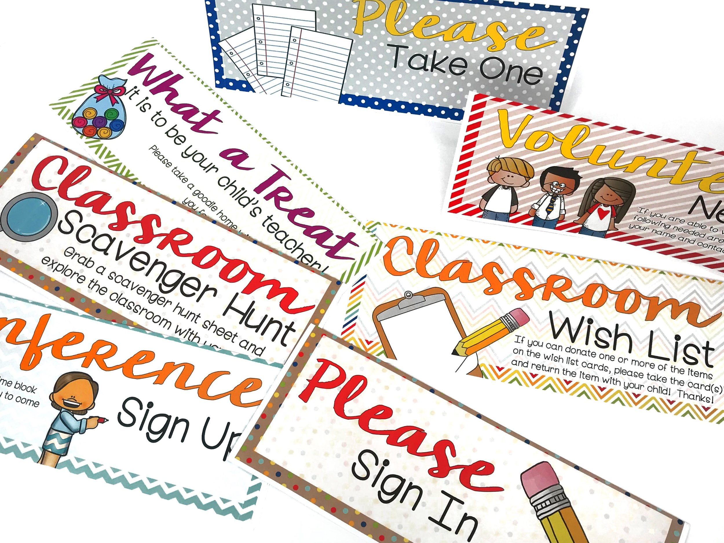 Prepare some signs to display around the classroom during your open house to guide parents