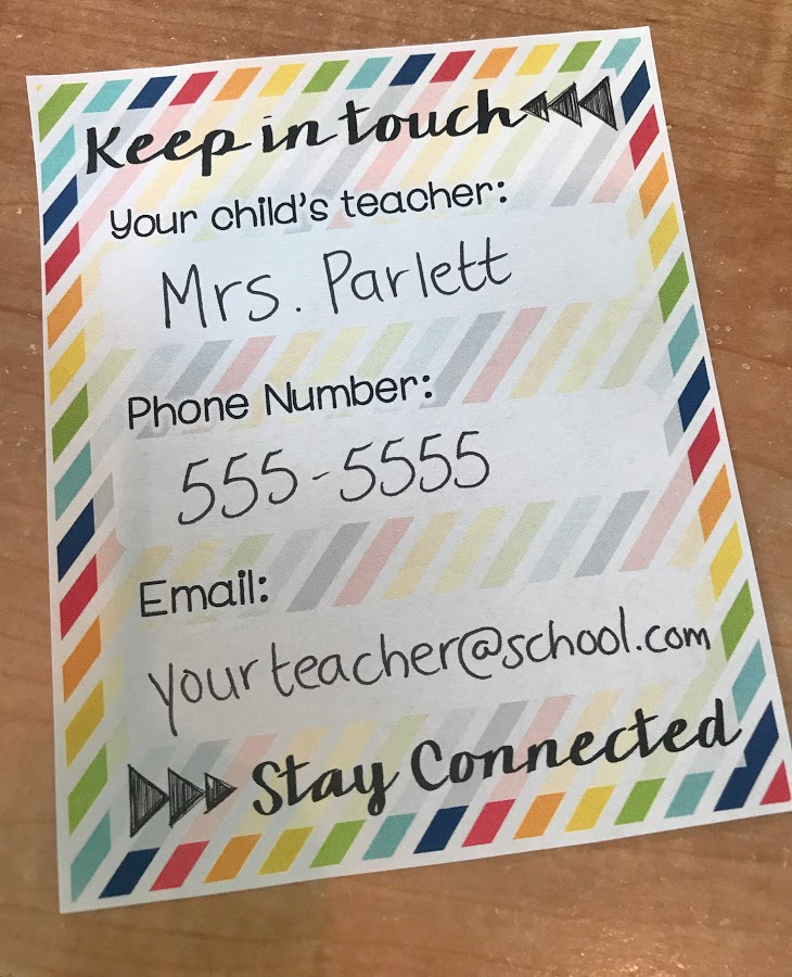 Proving students simple contact card at open house can help parents easily keep in touch with you