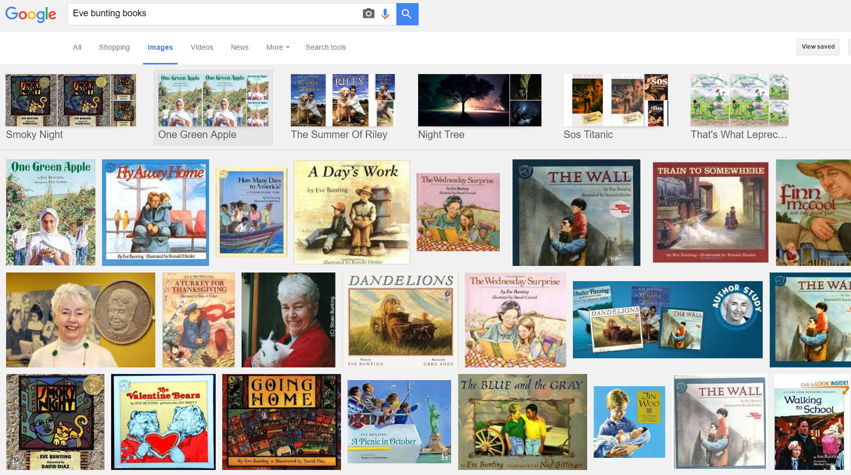 A simple google image search for any author will give you a good indication of the types of books to consider using for your author study.