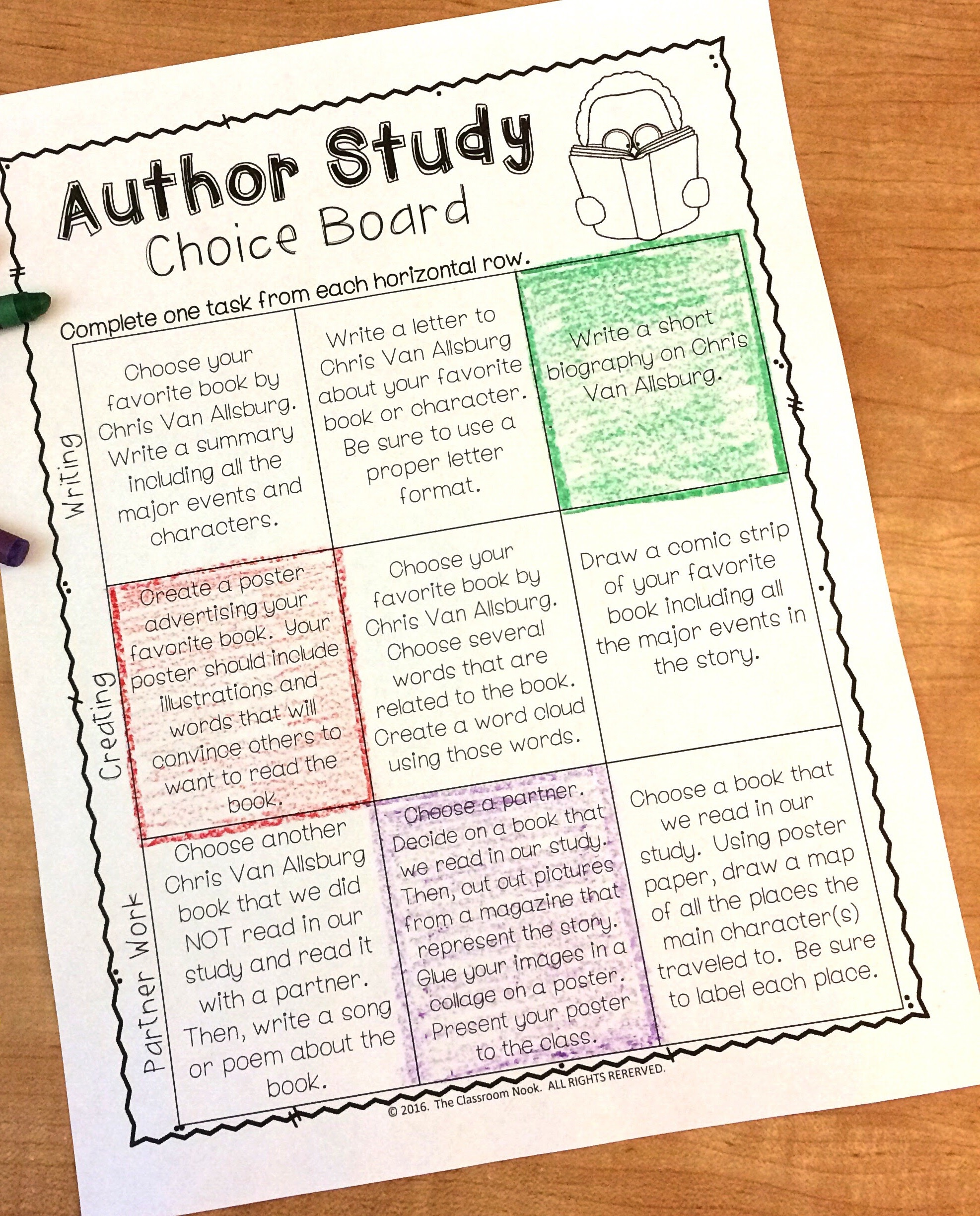 Have students complete their author study by having them complete an author study choice board where they choose from a variety of activities to show their learning.