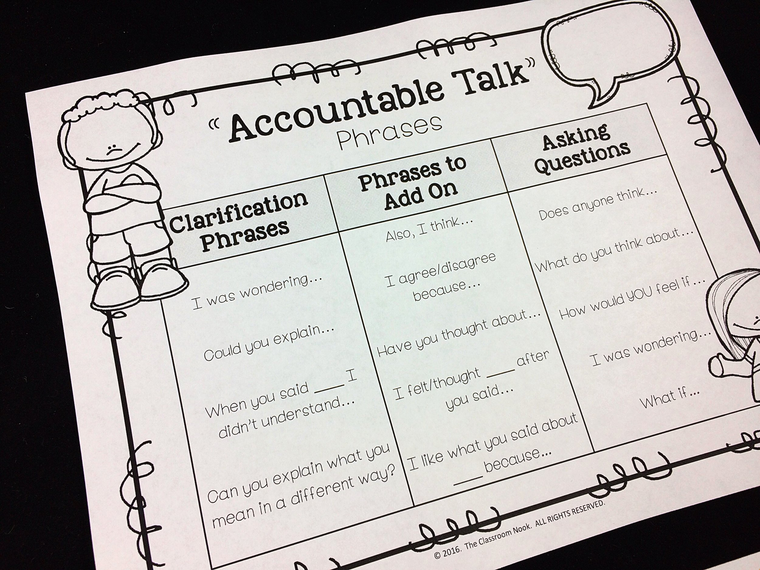 Students can create their own reference sheet for types of phrases to use when using accountable talk