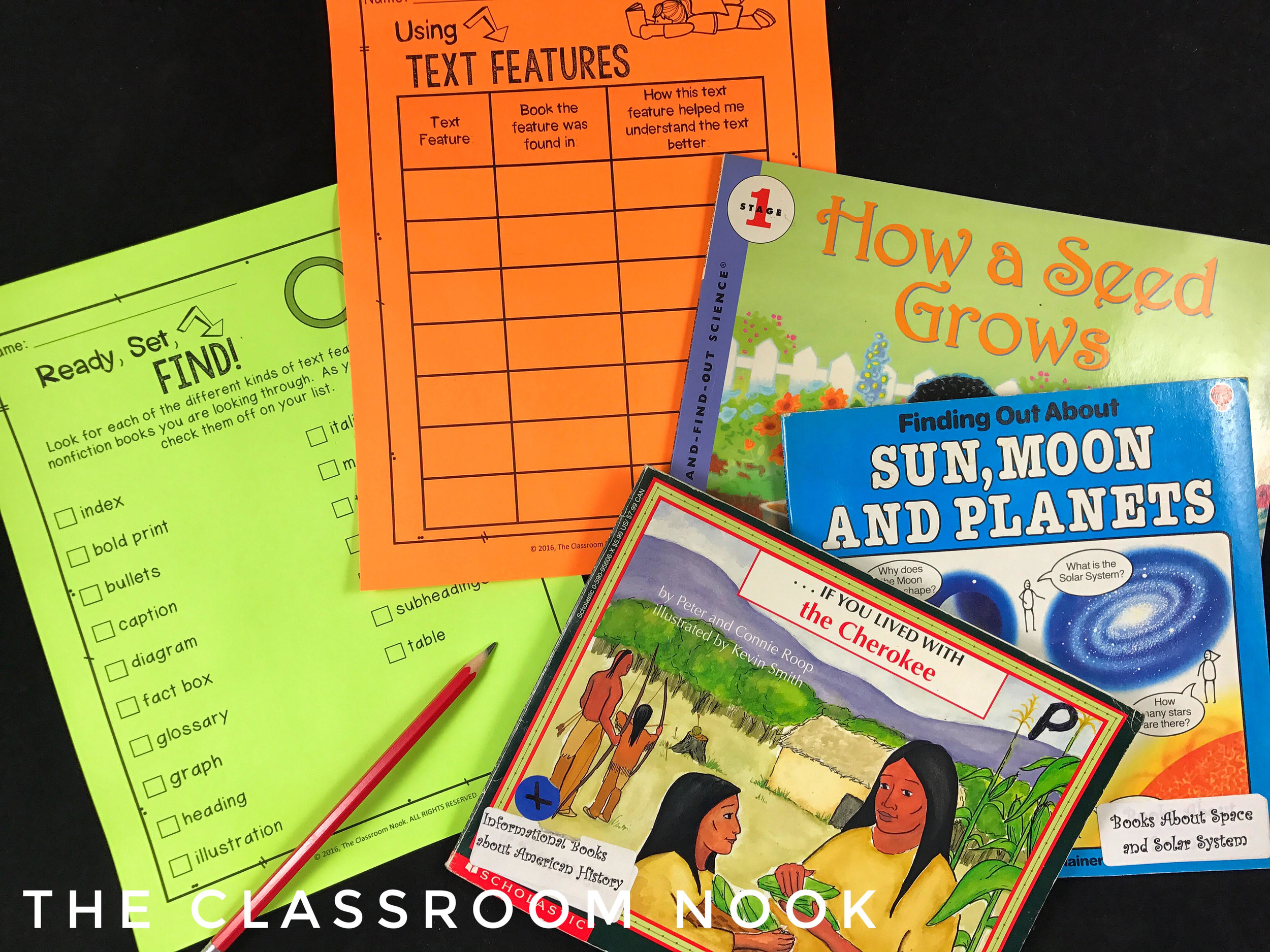 A nonfiction text feature scavenger hunt is a great way to help students learn how to quickly identify the nonfiction text features in a book that help them better understand the text.