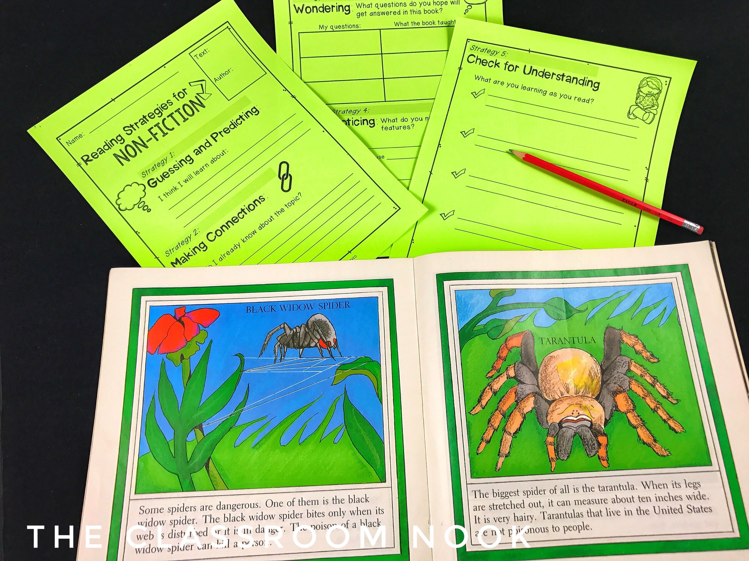 Teaching students how to use reading strategies for nonfiction texts including making connections, questioning, inferring, and others