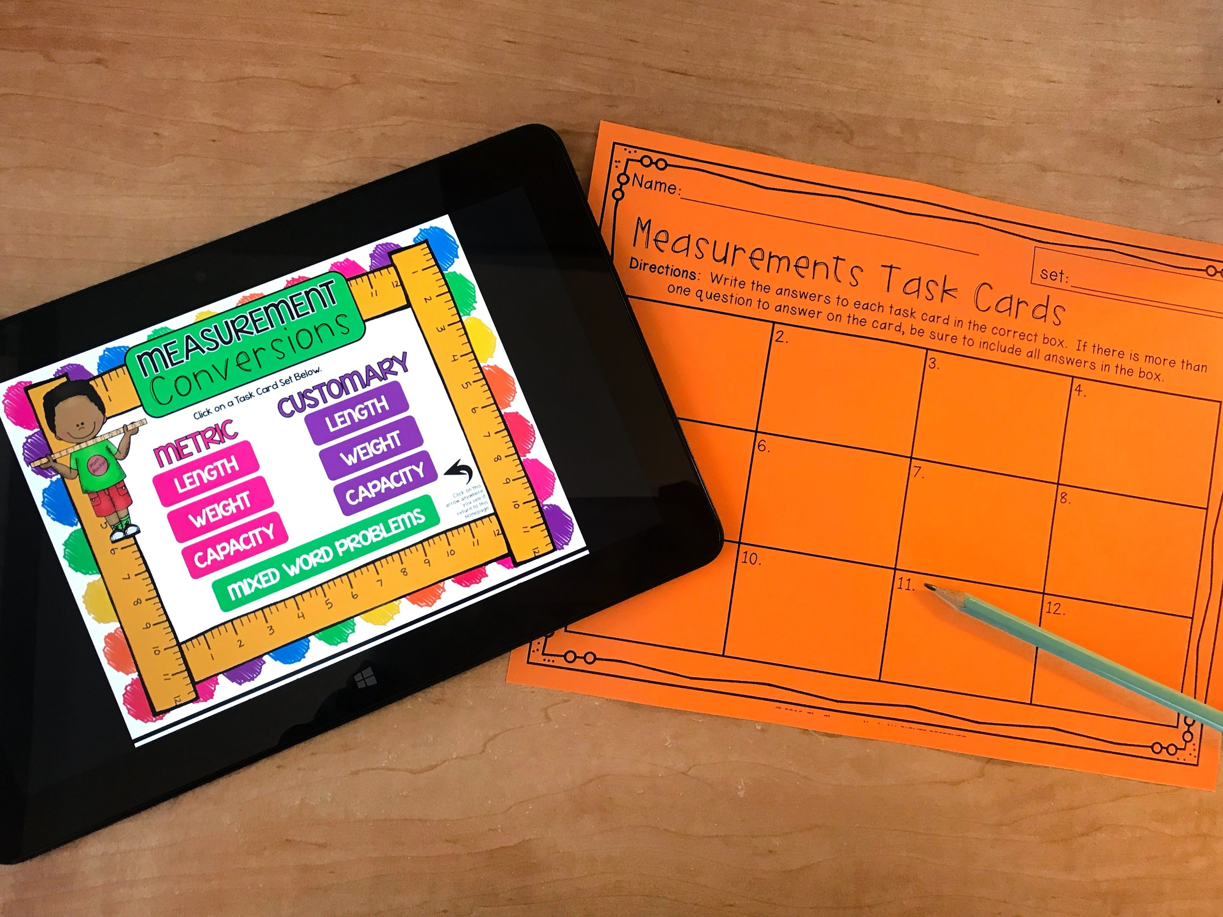This activity allows students to access the measurement task cards in a digital Link & Think format.