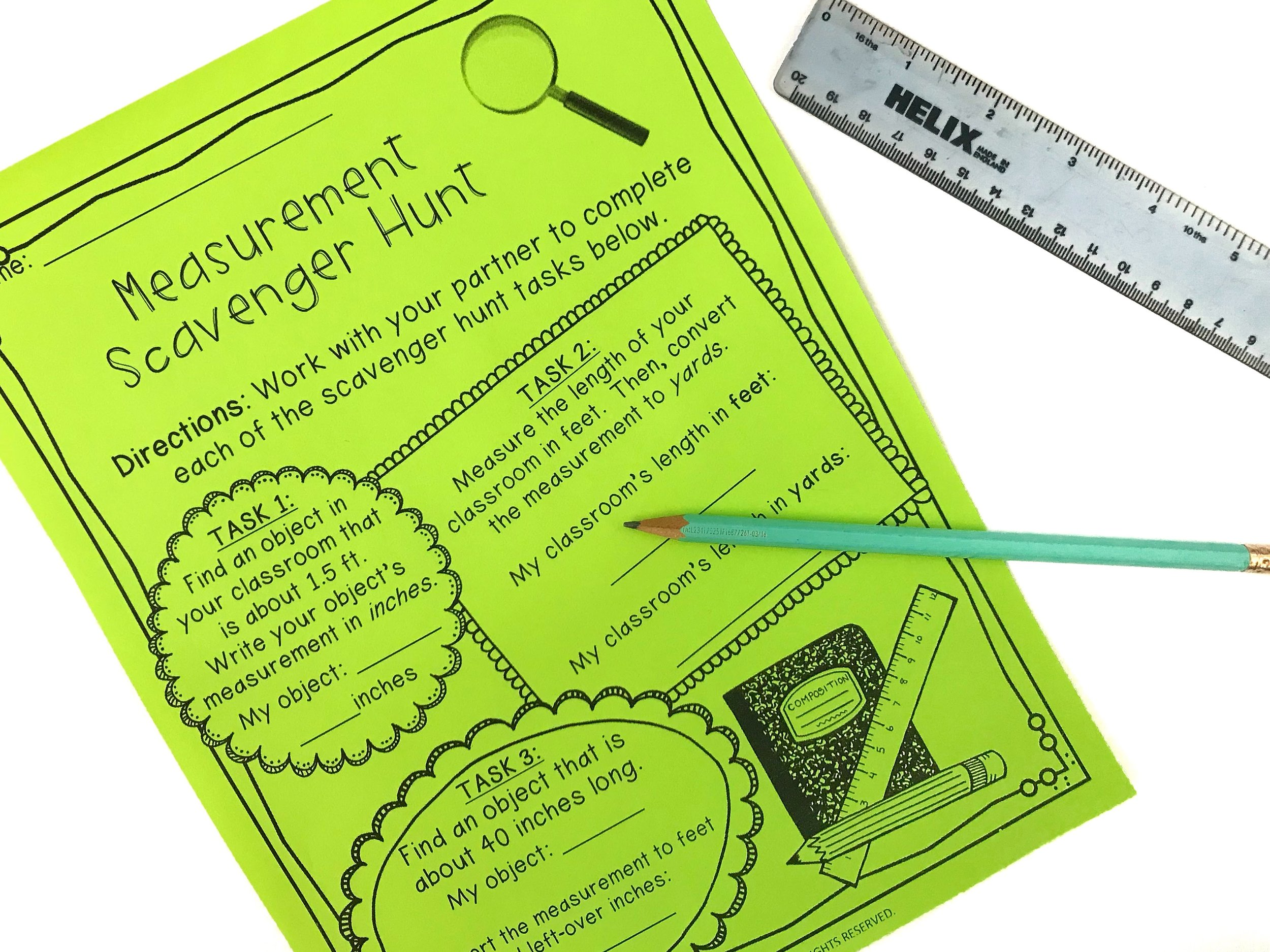 A measurement scavenger hunt is a perfect way for students to see concepts of measurement in everyday life.
