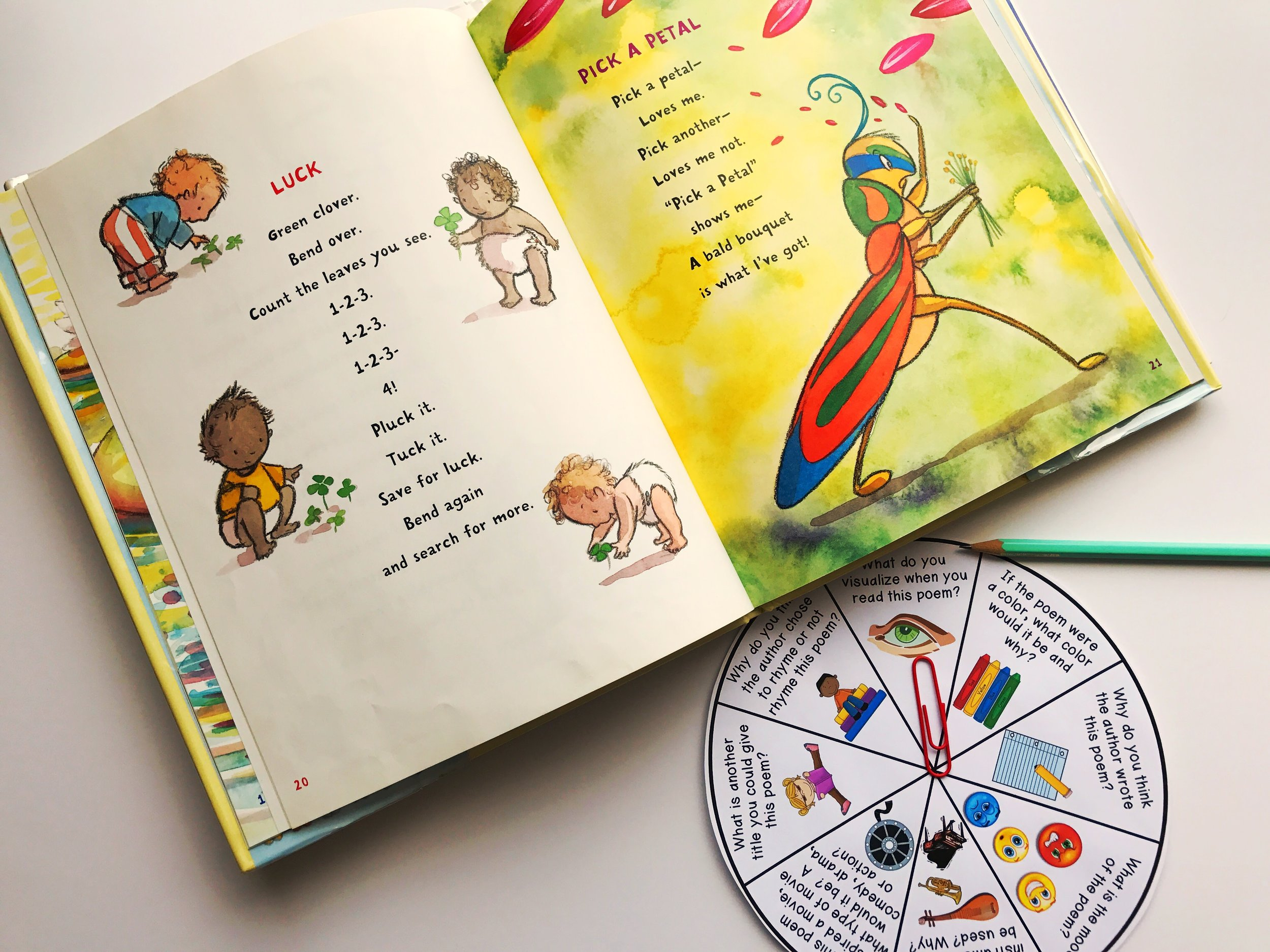 A poetry discussion spinner is perfect to help guide small-group discussion