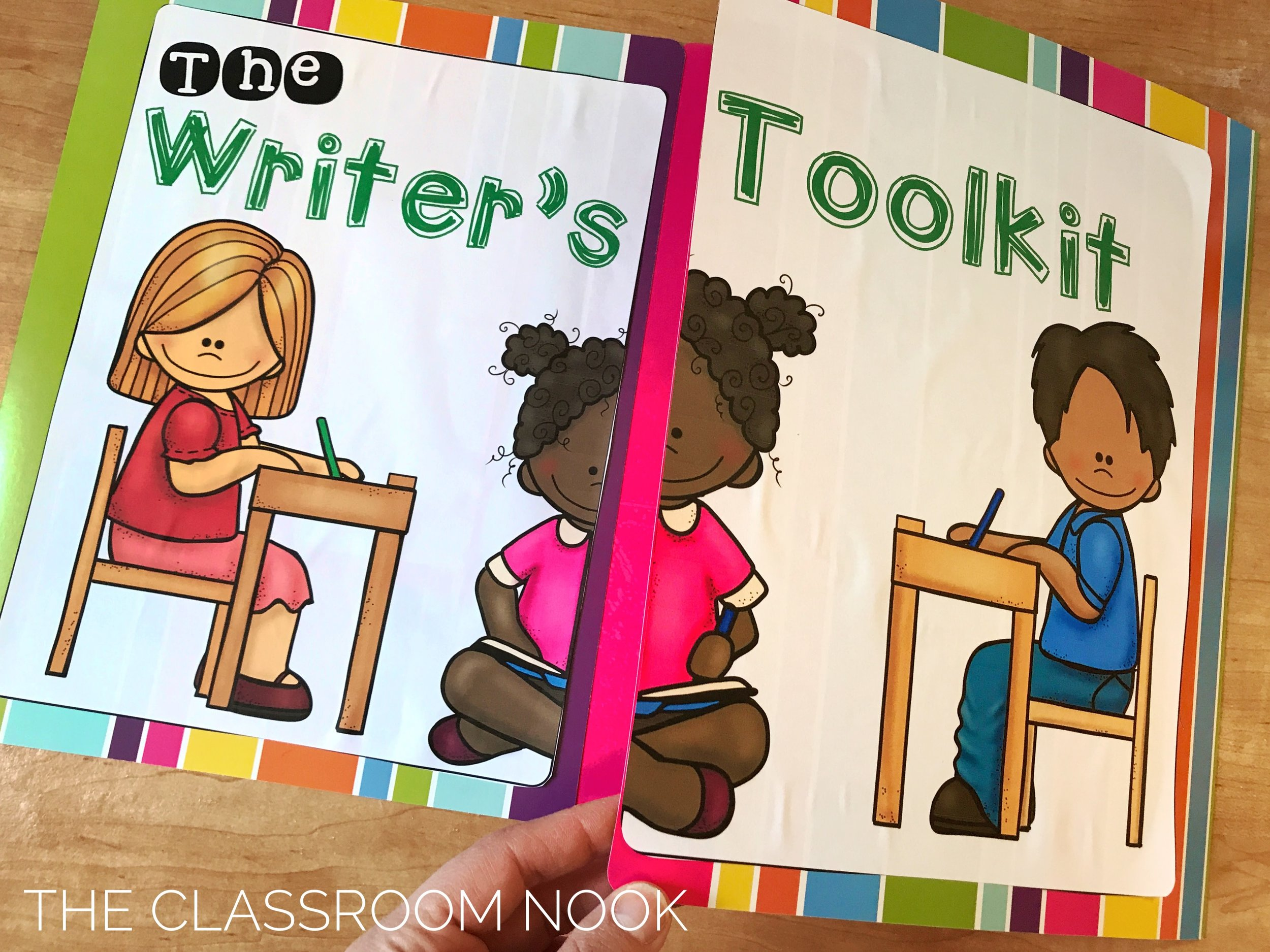 A writer's toolkit uses two file folder taped together and assembled with some writing resources on the inside.