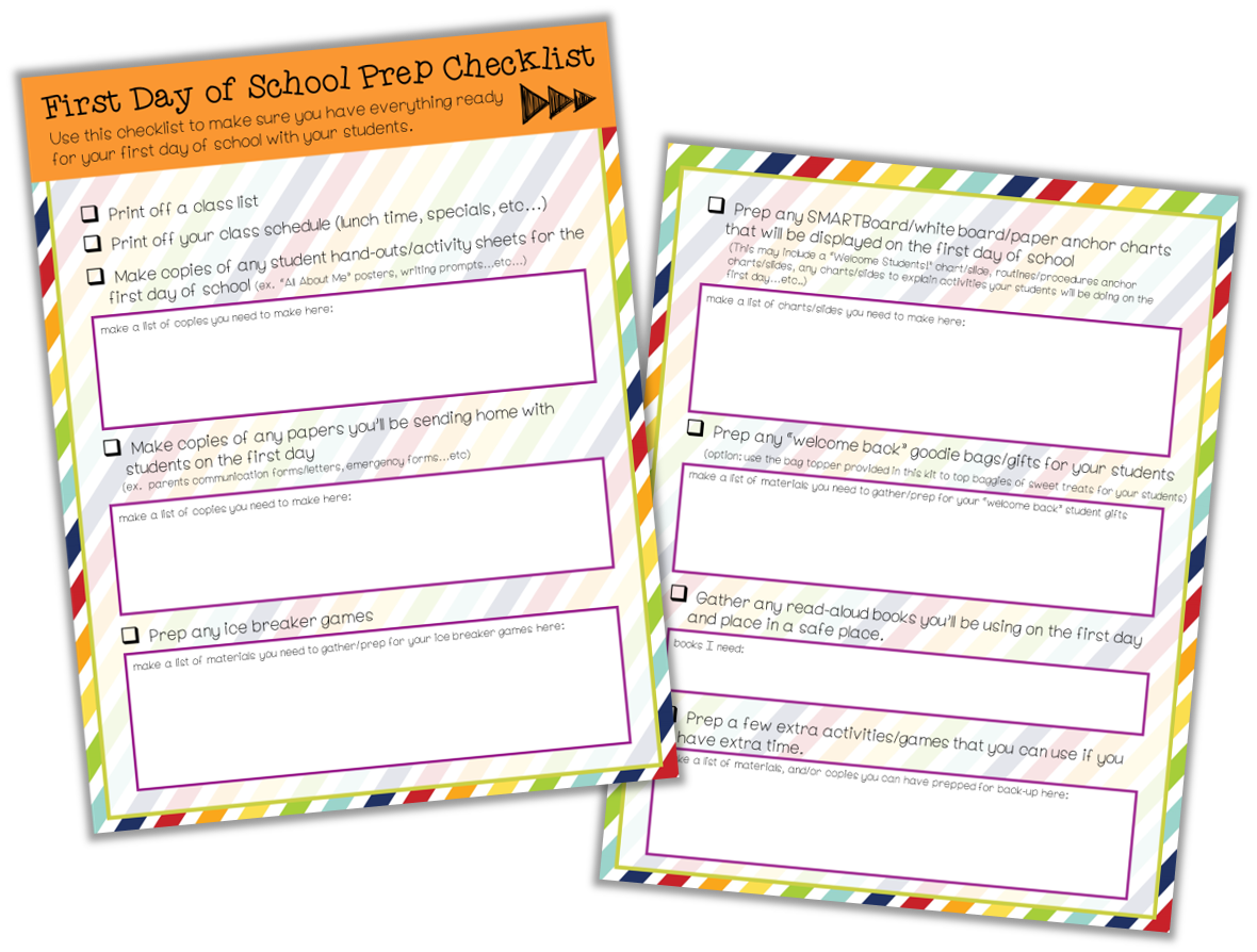 Be sure to create a first day of school checklist to help keep your on track for planning for the first day!