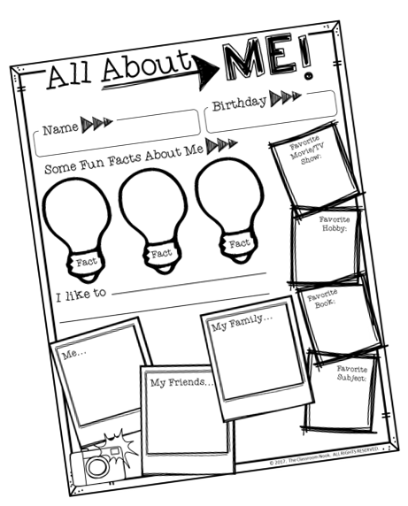 """A simple """"All About Me"""" poster helps students get to know each other better at the beginning of the school year"""