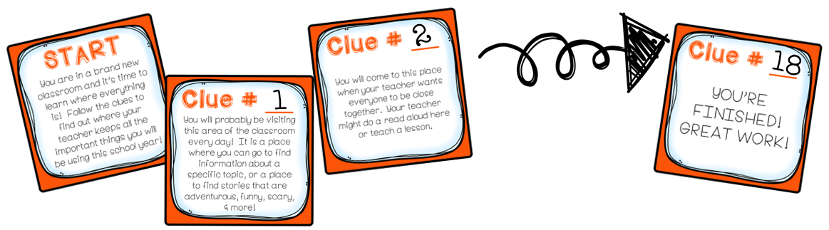 As students work through the scavenger hunt, they learn about important areas of your classroom