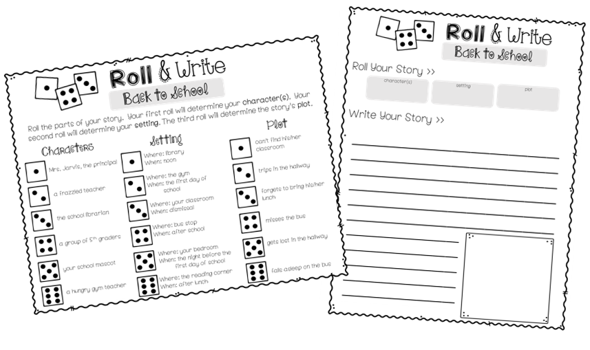 Roll-and-Writing writing prompts are a fun way to get students back into the habit of writing. They also provide the teacher with a base-line writing assessment at the beginning of the school year.