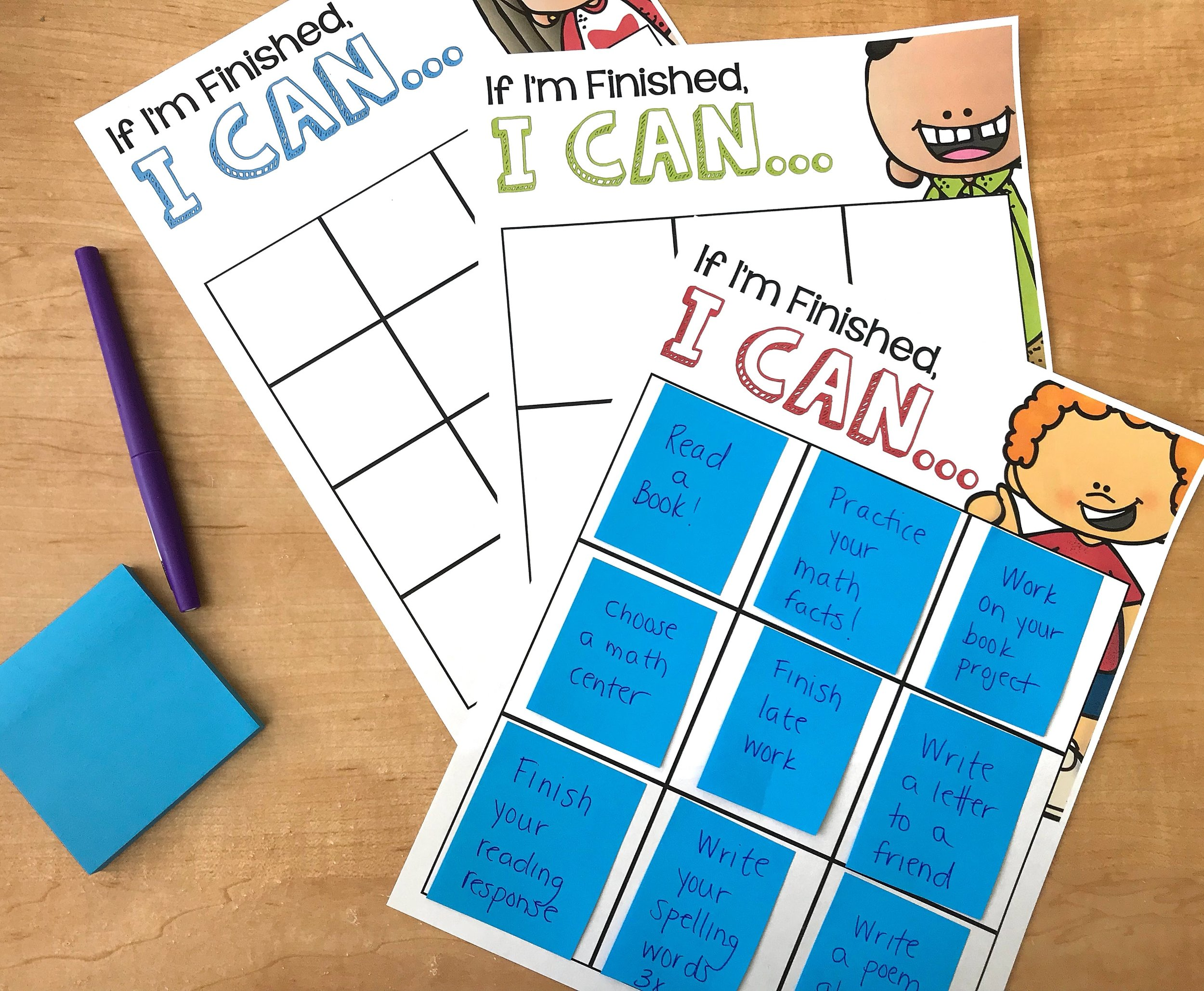 Prepare a few simple activities for students to complete if they finish other assignments early.