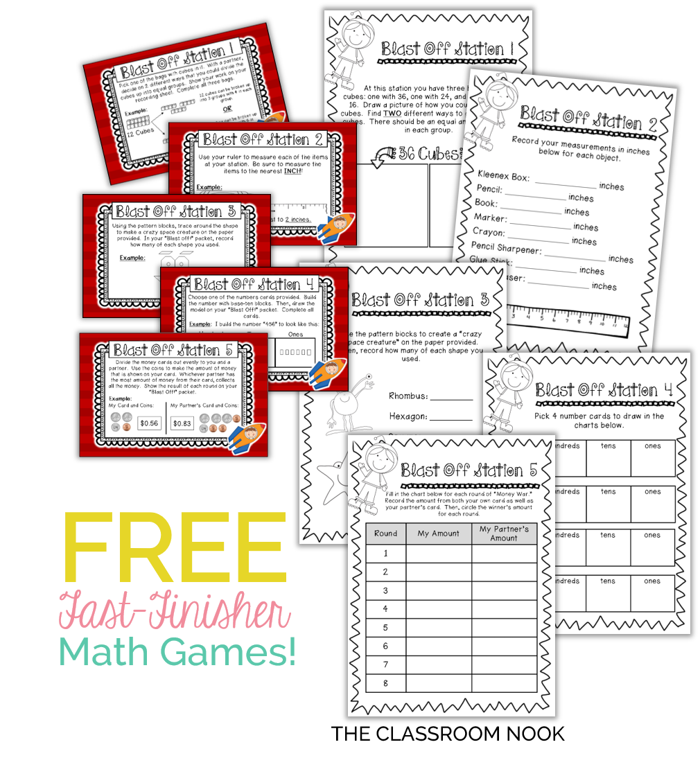 Math and literacy games make a perfect activity for fast finishers
