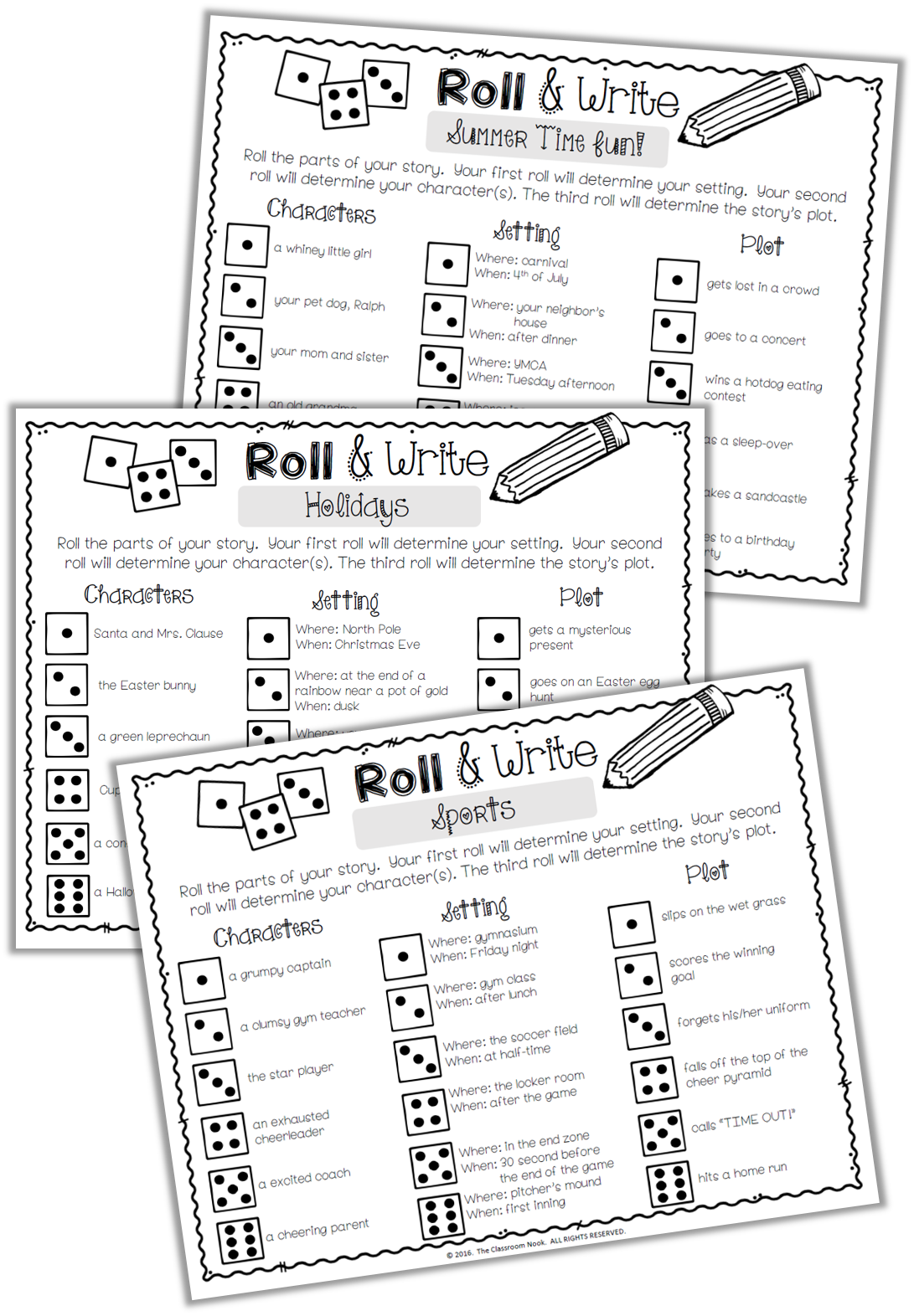 """Roll & Write"" writing prompts are fun for students to complete if they finish another assignment early."