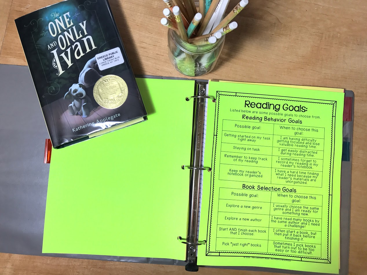 A readers notebook is the perfect place for students to keep track of their reading goals