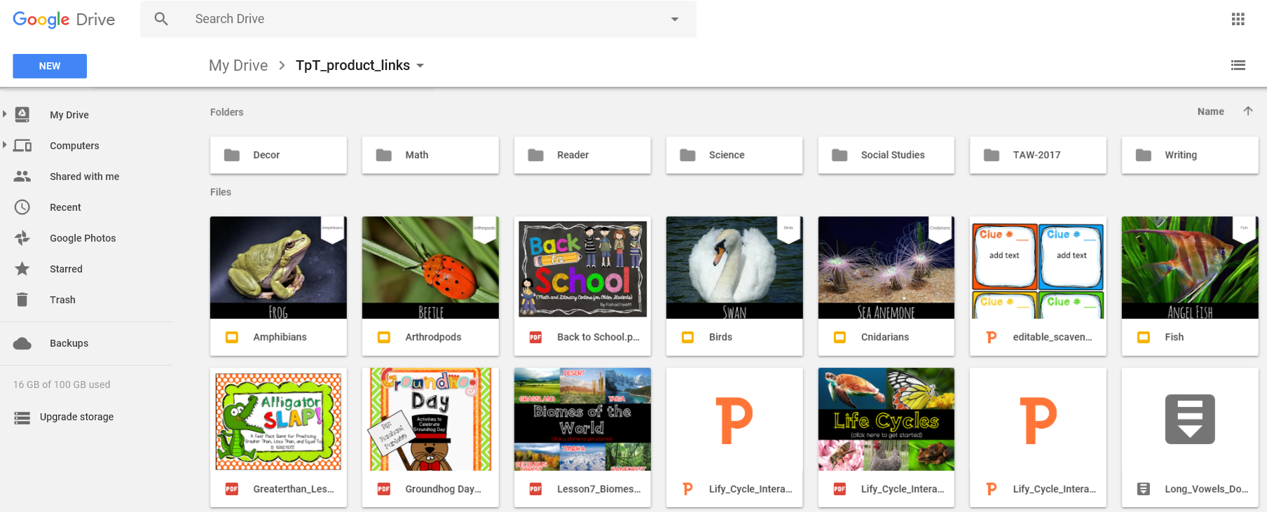 Use a shared google drive account with your co-teacher to have easy access to shared resources.