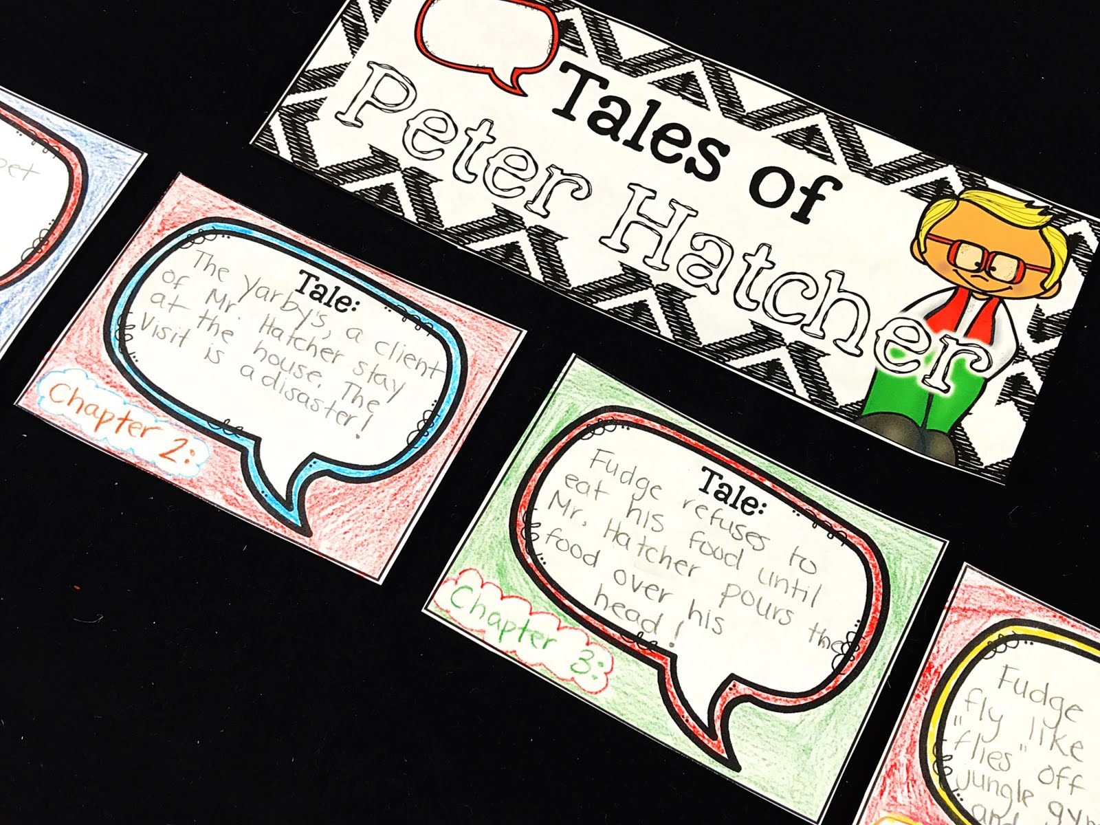 When reading a novel, you can have students add important event cards to a novel unit bulletin board.