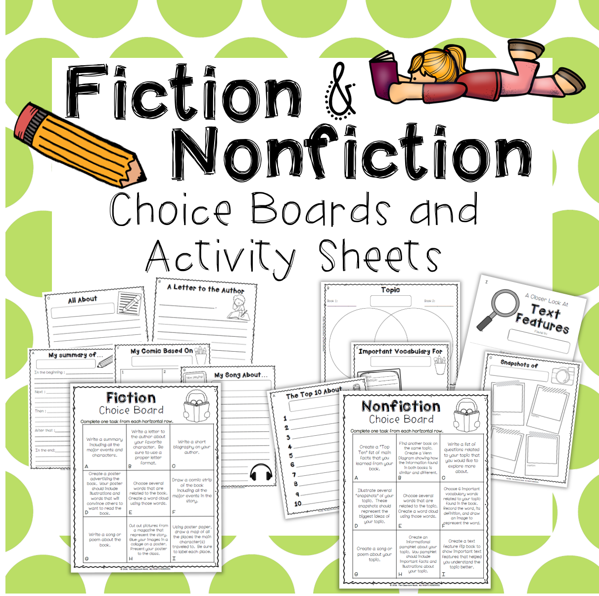 Choice boards are a great activity for reading partners to work on once they have finished their partner book.