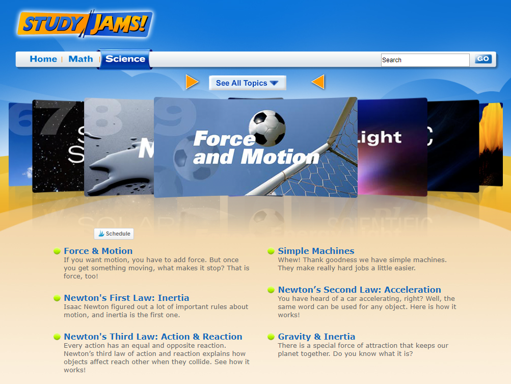 Study Jams is a great online resource for teaching concepts of force and motion