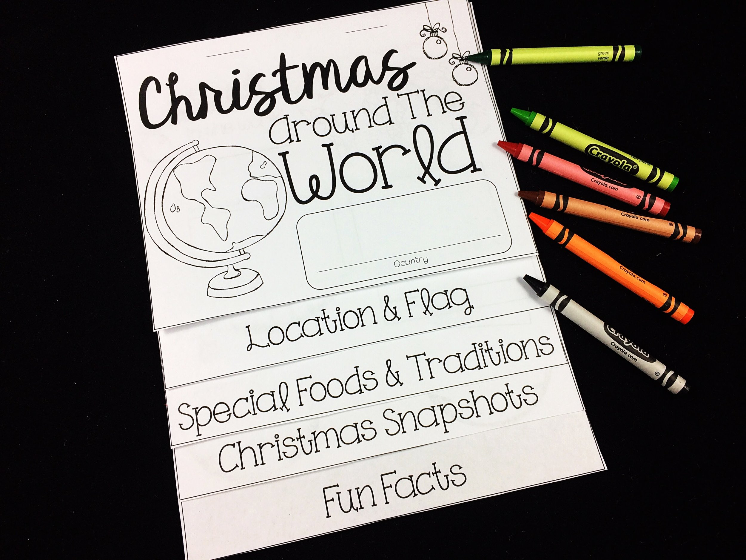 I had my students pick a country from a selected list that I created and research ways that they celebrate Christmas. Students would research online and use books in our classroom and school libraries.