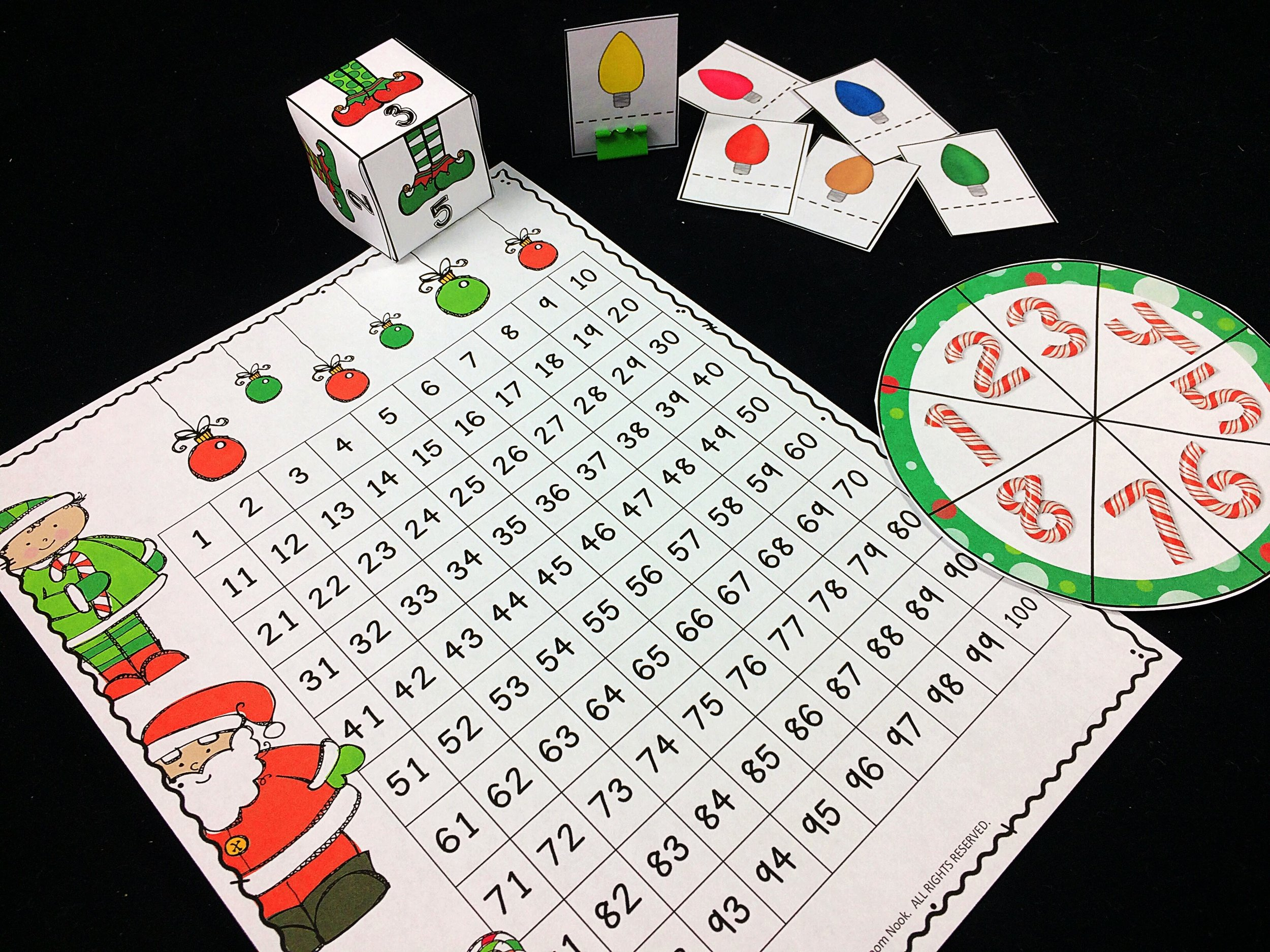 Easily swap out your regular dice, spinners, hundreds charts...etc.. for ones with a little holiday theme. The impact of these minor changes will be MUCH greater than then effort it takes to make them!