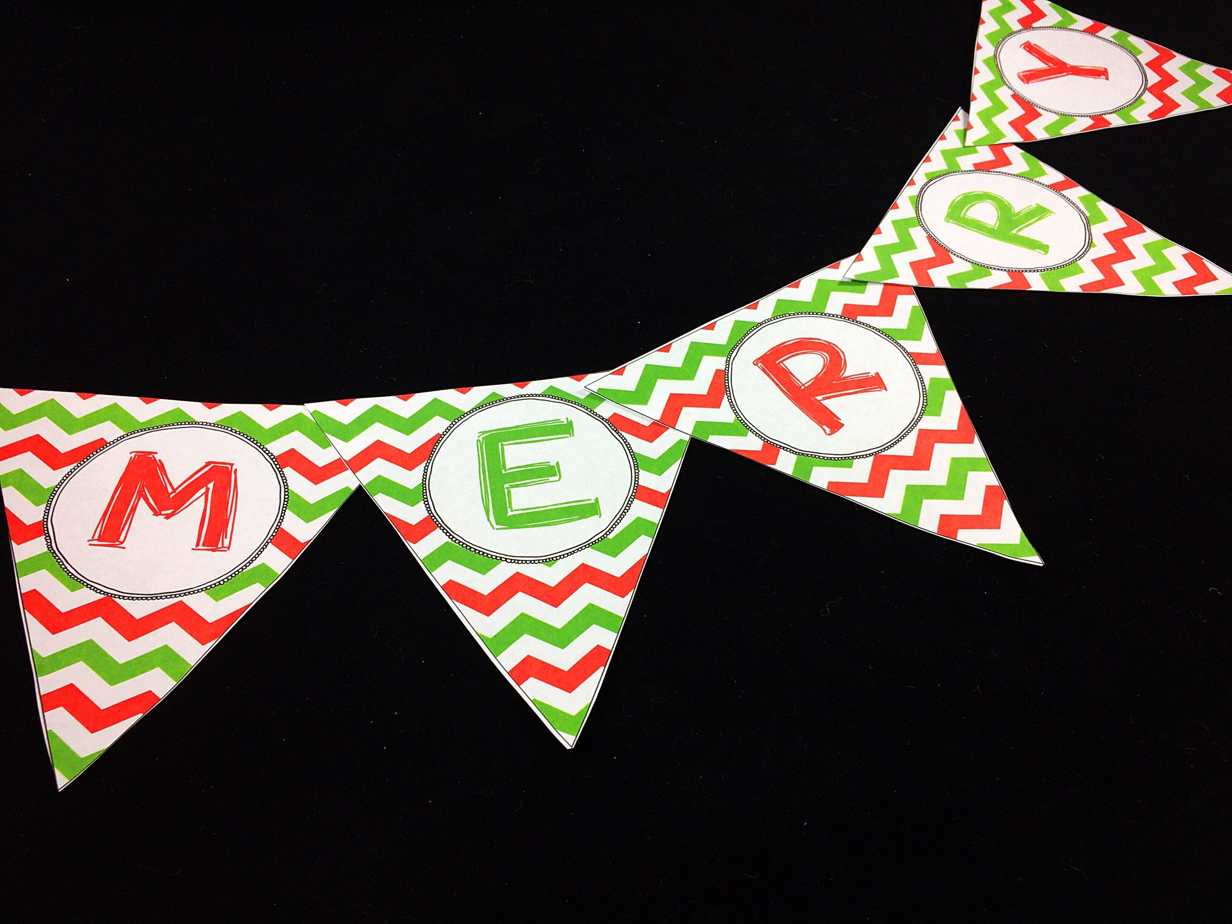 holiday-themed pennant banners can be hung over a door frame, the the corner of a bulletin board, or on top of a whiteboard for an instant pop of holiday!