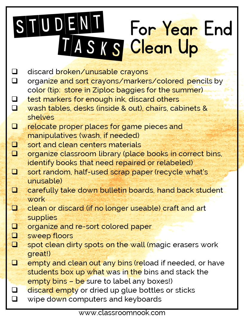 There are a variety of cleaning tasks that your students can do to help you clean up your classroom for the school year