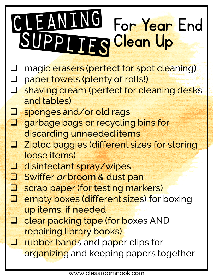 Keep several cleaning and organizing supplies on hand to provide your students when they are completing their cleaning task