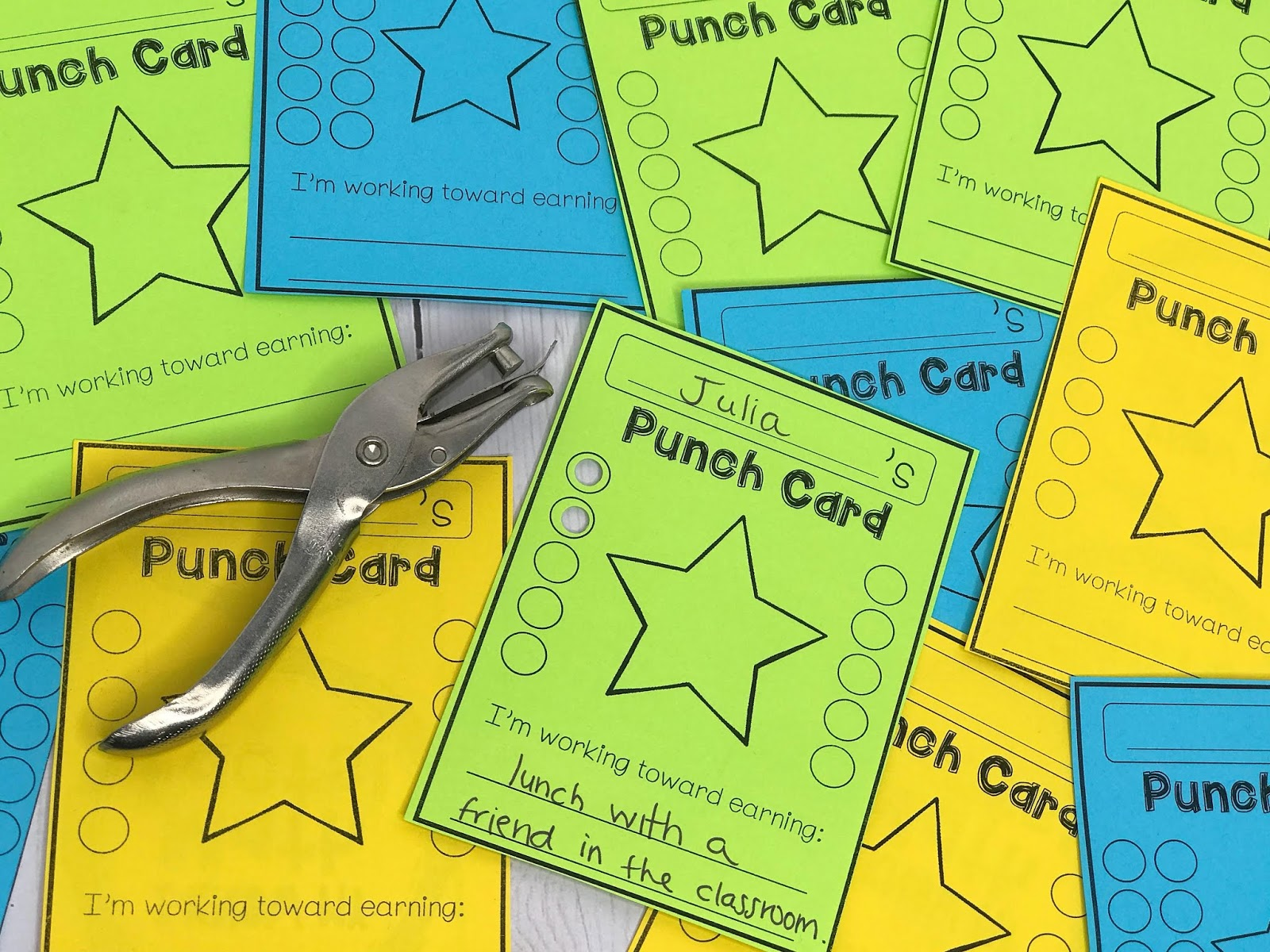 with  punch cards , students can each be working toward different behavioral goals in order to earn a reward that is meaningful and motivating to them.