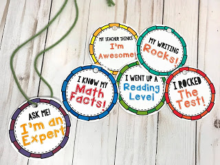 When a student demonstrates a desired behavior, or a specific accomplishment, he or she will wear the corresponding accomplishment necklace for a day. These necklaces can be reused when the student returns the necklace at the end of the day.
