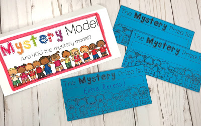 "Secretly choose one student in your class (do NOT reveal that student's name to the class). Tell students what specific behavior you are looking for to be modeled correctly. Choose a reward (again, do NOT tell the class what the reward is). If the ""mystery student"" displays this behavior throughout a specified amount of time, the whole class earns the reward inside the envelop. It's up to you whether or not you want to reveal the mystery model once the reward has been earned."