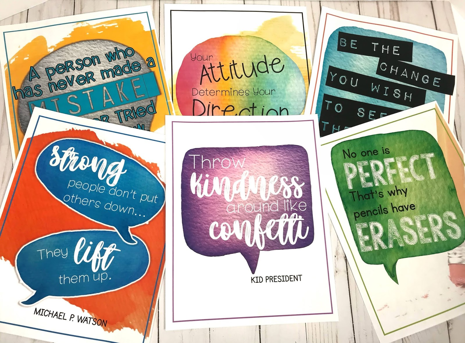 Be sure to place posters and decorations with a positive message all around your classroom to create a learning environment that invites positive behavior and interactions with each other.