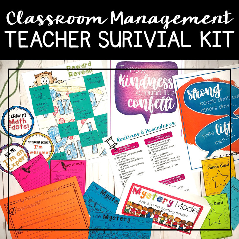 You can grab tons of resources to help you develop and set up your classroom management plan in this Classroom Management Survival Kit and Teacher Toolbox. You'll have access to 4 teacher training videos to help you set the foundation for your management plan, whole-class and individual behavior management tools ,  and even a set of 10 positive poster to display throughout your classroom to create a positive learning environment.
