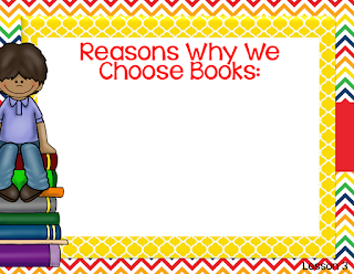 I first begin by creating an anchor slide with my students where I record all the reasons why reader's choose books
