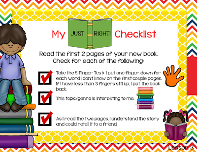 "give students a quick checklist of steps for choosing ""just right"" books."