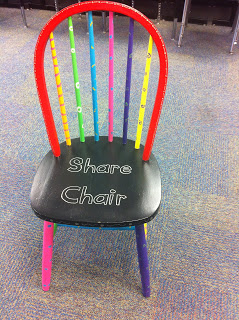 A share chair is a place for students to share what they are reading and writing with their classmates