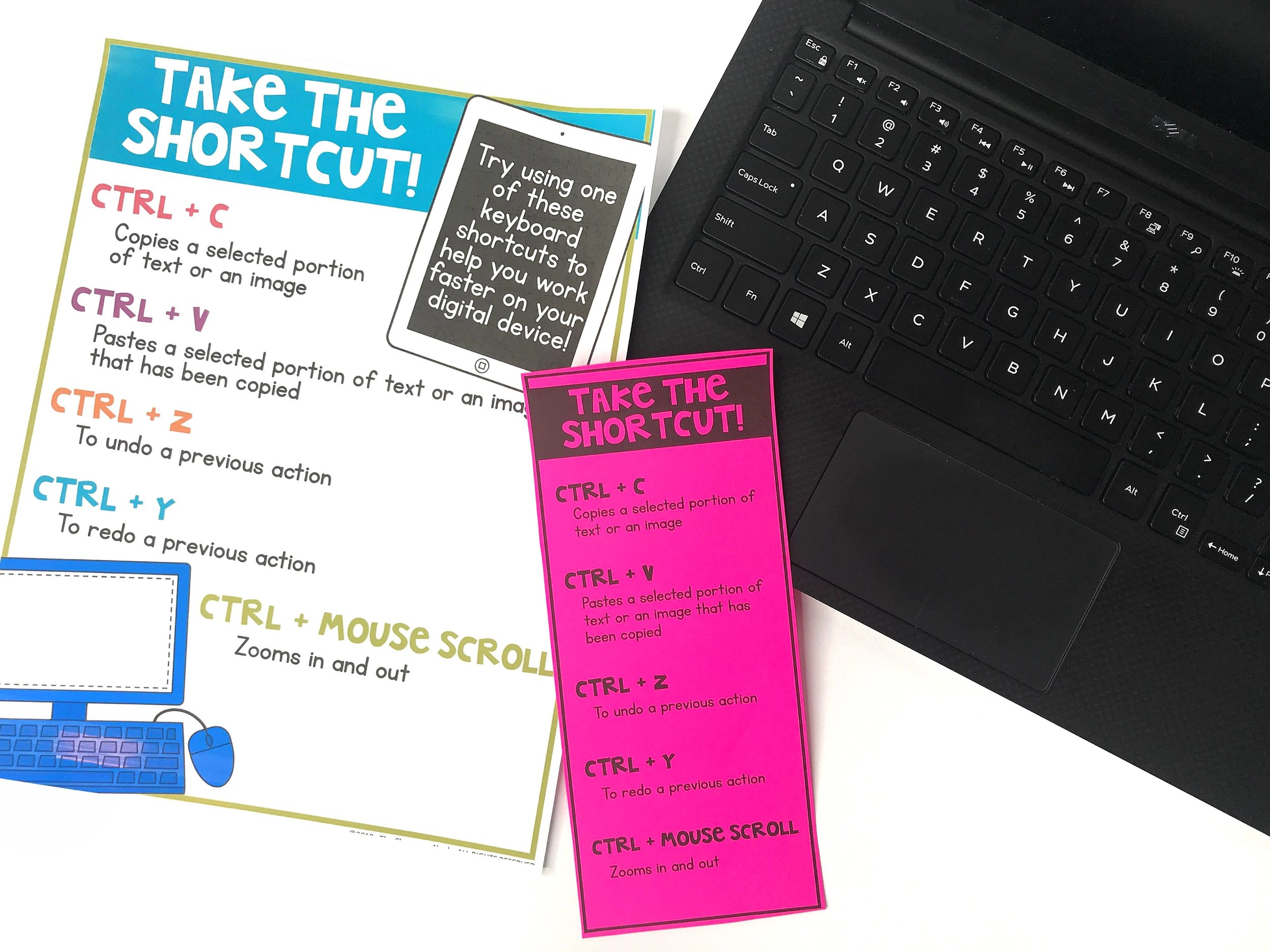 Teach students a few keyboard shortcuts ( like CTRL+Z to undo an action! ) to help students work faster and more efficient on their own. Post some common shortcuts in your classroom, or provide students with a quick cheat-sheet to help them memorize these helpful tips.