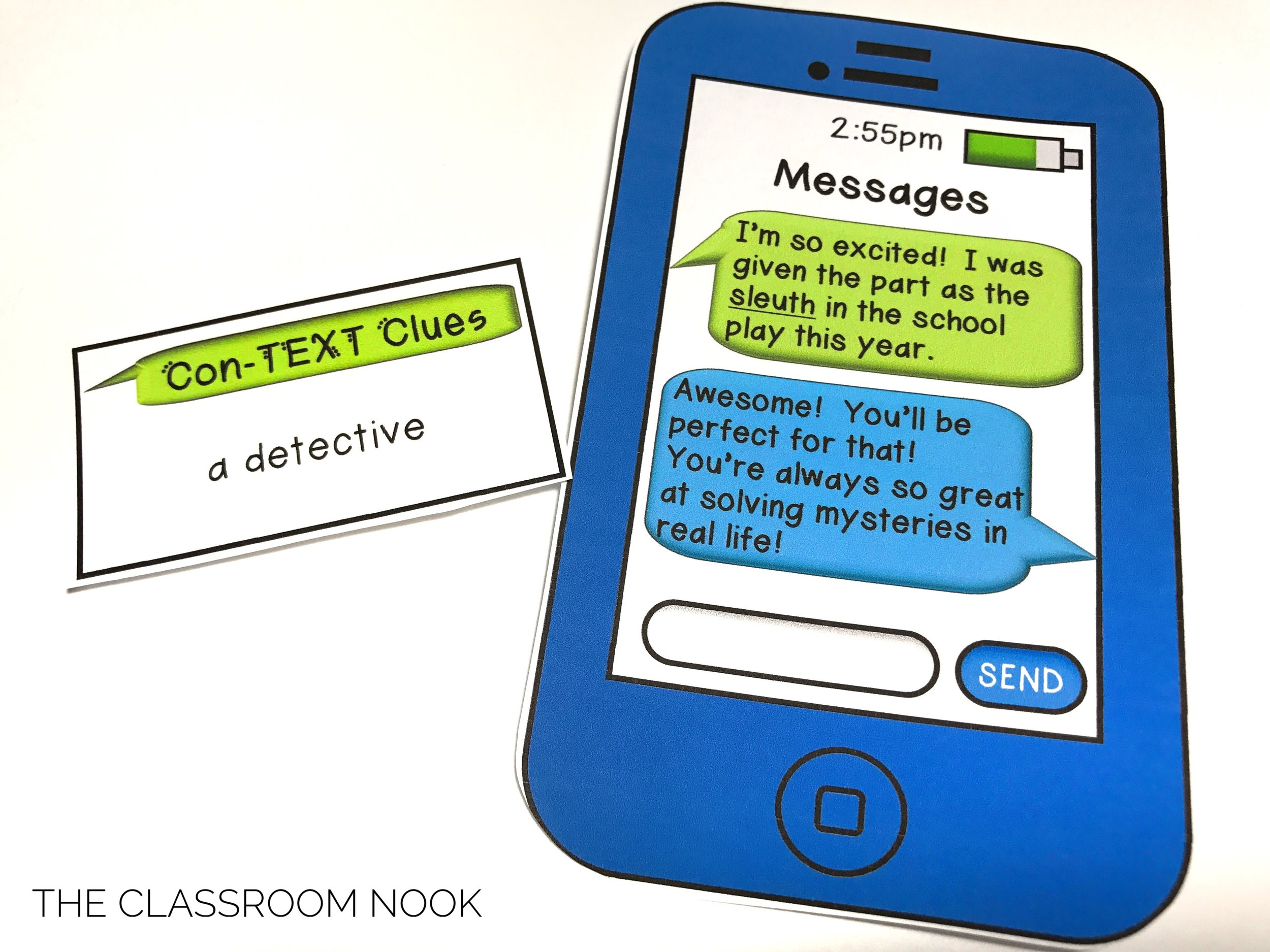 "This fun game has students reading text conversations on ""phones"" and requires them to use context clues to figure out the meaning of unknown words."