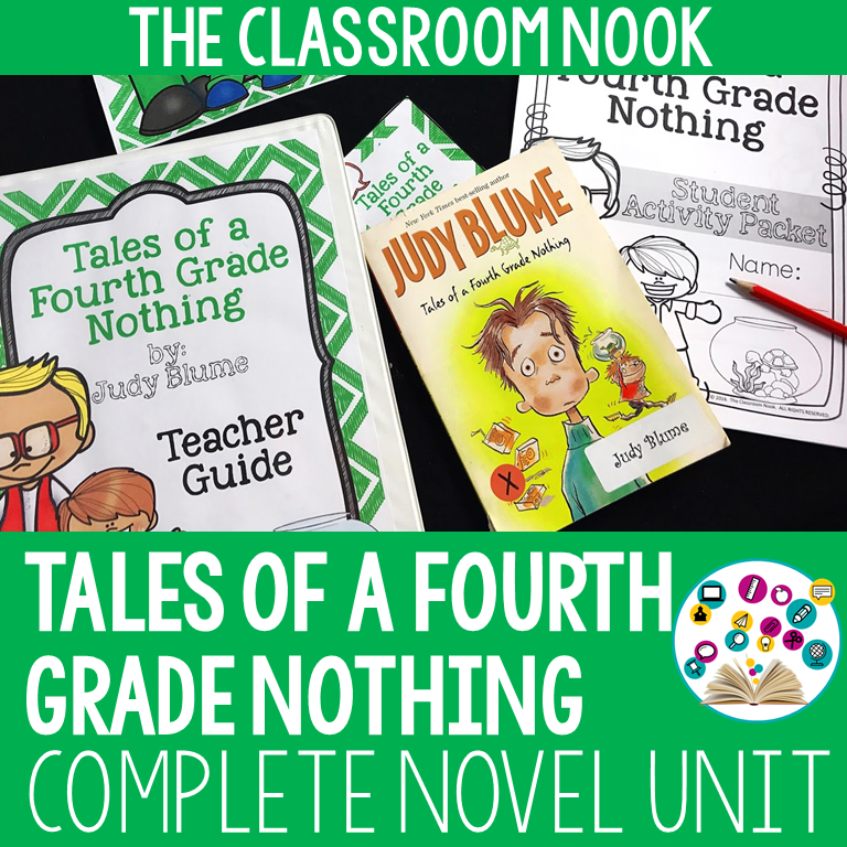 Grab this complete novel unit for teaching the book: Tales of a Fourth Grade Nothing