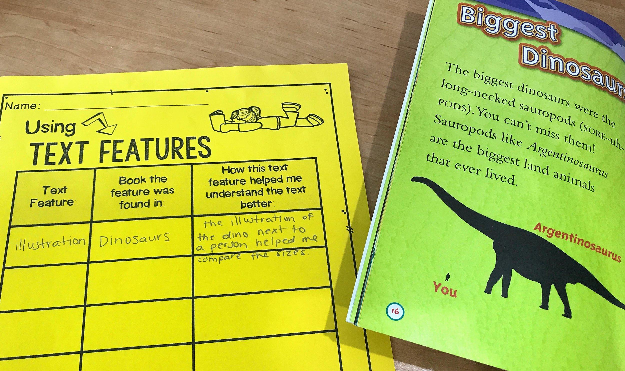 I also like to have students record the types of nonfiction text features that they are finding in their own individual books. I have students keep a simple chart where they record what text feature they found, what book it was found in, and how the feature helped their understanding of the text.
