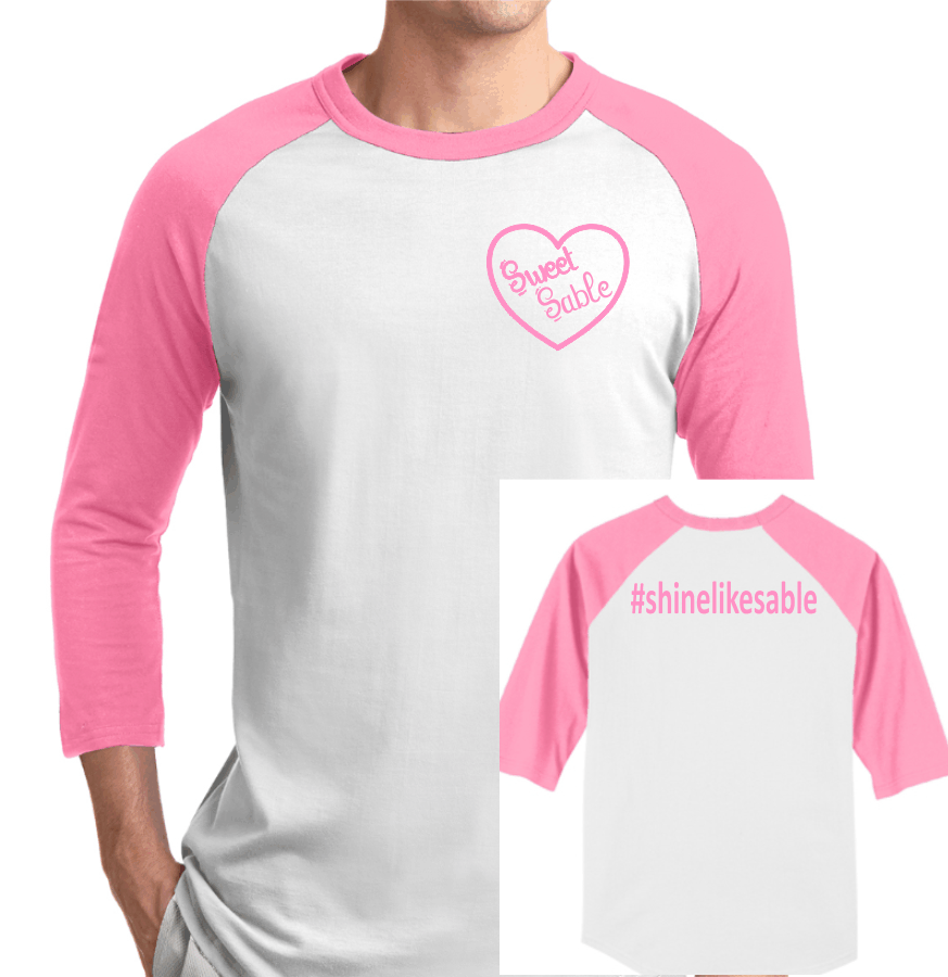 - Sweet Sable Raglan TSoft, classic knit jerseys available in many team colors. *5.2-ounce, 100% ring spun combed cotton *Rib knit neck *3/4 raglan sleeves *Covered hem * Pink Sleeve * Available in Youth Sizes: XS-XL and Adult Sizes: XS-3XL$15.00